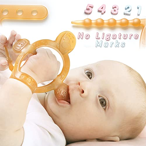 【Never Drop from Hand】HEORSHE Baby Teething Toys for Babies 0-6 6-12 Months Teethers for Infants Toddlers Silicone Molars Adjustable Wristband Chew Toys for Babies 3 4 5 6 7 8 9 10 11 12 Months