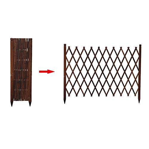 ESTEAR Wooden Expandable Garden Trellis, Portable Fence, Plant Support Willow Lattice Fence Panel For Climbing Plants For Outdoor Brown