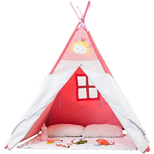 YQZ Pink Child Teepee, Kids Playhouse Tent, Large Playhouse Indoor and Outdoor, Imaginative Pretend Games