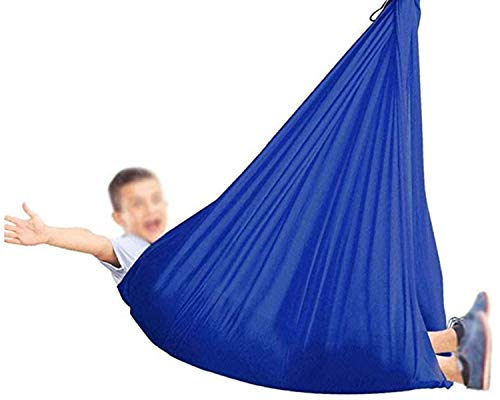 ZHL Therapy Sensory Swing Adjustable Indoor Swings For Kids And Teens Snuggle Cuddle Hammock With Special Needs Has Calming Effect On Child (Color : Blue, Size : 100 x 280 cm)