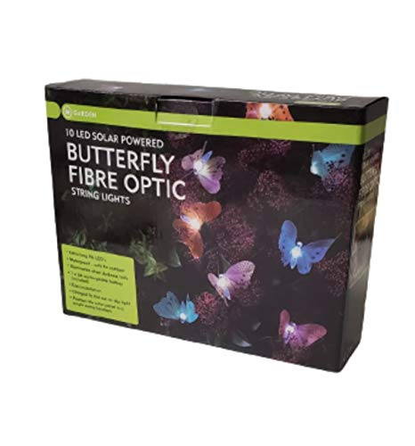 Solar Powered Butterfly Fibre Optic 10 LED String Light Home Outdoor Garden Deco