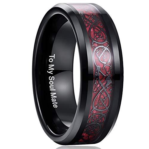 NUNCAD Unisex Ring Paare Wolfram mit Keltischen Drachen + Kohlefasern Blassrot für Hochzeit Valentinstag Trauung Party Größe 54 (14)