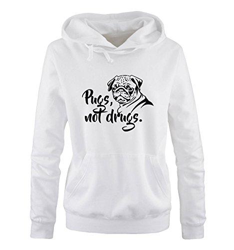 Comedy Shirts - Pugs not Drugs - Hund - Damen Hoodie - Weiss / Schwarz Gr. S
