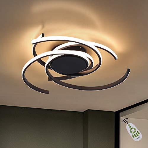 CBJKTX Deckenleuchte LED Deckenlampe Moderne Wohnzimmerlampe Schwarz dimmbar mit Fernbedienungaus Eisen und Aluminium 77W Ring Design für Esszimmer Schlafzimmer Wohnzimmer Büro Flur