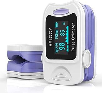 HYLOGY Oxímetro de Pulso, Pulsioximetro de Dedo Profesional saturacion oxigeno oxímetro con pantalla OLED (blanco) (blanco)