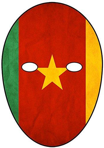 Party People Kamerun Flagge Maske. Hergestellt aus Karte. Ausschneiden & zu Hause Machen. Für Fußballfans. Zweidimensionale Maske für Ihr Gesicht. Dies ist kein Kunststoff oder Gummi.