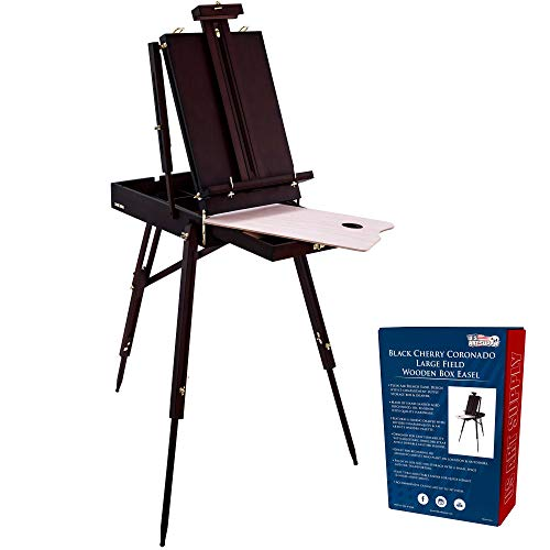U.S. Art Supply Coronado Black Cherry Easel, Large Adjustable Wooden French Style Field and Studio Sketchbox Tripod Easel with Drawer, Artist Wood Palette, Premium Beechwood, Painting, Sketching Stand