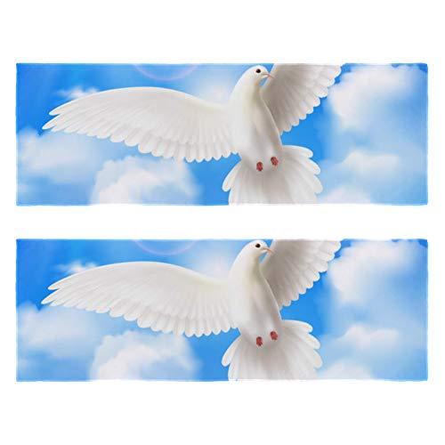 Toallas de gimnasio Pentcost Pigeon blanco Dove Blue Sky Clouds Print de secado rápido microfibra deporte entrenamiento sudor toalla para hombres y mujeres paquete de 2