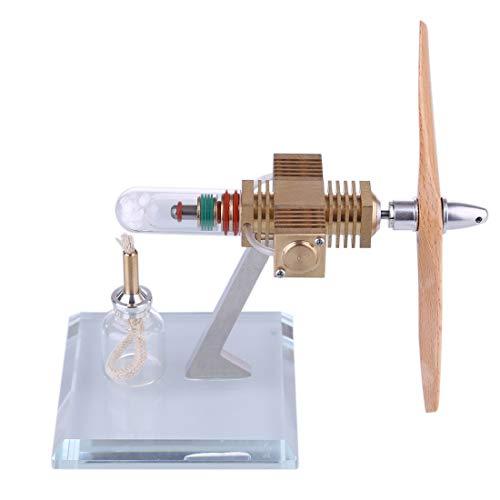 Mecotecn Motor Stirling con cabeza de avión de madera, hélice Stirling Engine Kit de experimentación física, juguete creativo