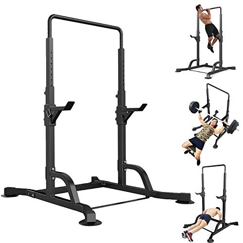 Qazqa Pull-up Chin Up Bar, Power Tower Free Standing Dip Station, Multifunctional Horizontal Bar Weight Reduction Frame Bench Press Squat Rack, Home Gym Fitness Exercise Strenth Training Equipment