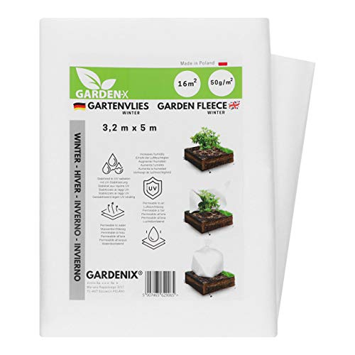 GARDENIX® 8 m² Wintervlies für Pflanzen 50g/m² ‒ Winterschutz - Hohe UV-Stabilisierung reißfest und wasserdurchlässig (1,6m x 5m)