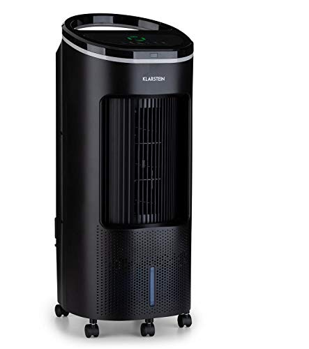 Klarstein IceWind Plus - Enfriador de aire 4 en 1, Ventilador, Humidificador de aire, Limpiador de aire, Caudal de 330 m³/h, 49 W, Función NatureWind, 4 niveles de intensidad, 3 modos, Negro