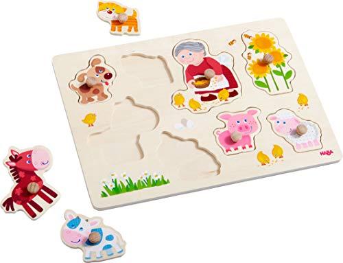HABA 303183 - Greifpuzzle Oma Lenis Tiere | Holzspielzeug ab 12 Monaten | 8-teiliges Puzzle aus Holz mit bunten Tiermotiven | Mit großen Knöpfen zum Greifen