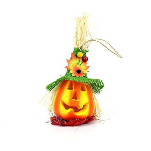 BESTOYARD schattige Halloween pompoen vogelverschrikker lantaarn licht gelukkig Halloween partij decoratie (groene hoed)