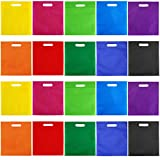 Aneco 50 Pieces 9.5 by 11.5 Inches Non-Woven Bags Poly Goodie Treat Bag Rainbow Colors Tote Bag Party Gift Handles Bag Party Favors, 10 Colors