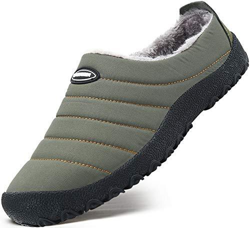 Mishansha Zapatillas de Estar Mujer Pantufla de Exterior Antideslizantes Slippers Cálido Zapatos de Invierno Verde Gr.36