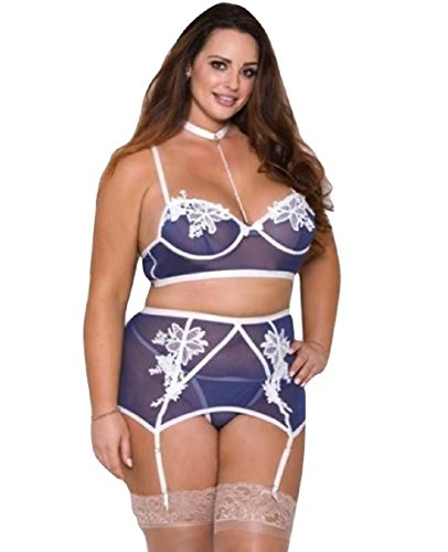 iCollection Lingerie Pearl Choker, Bra, Garter Belt & G-String Blue, Ladies Plus Size (1X)