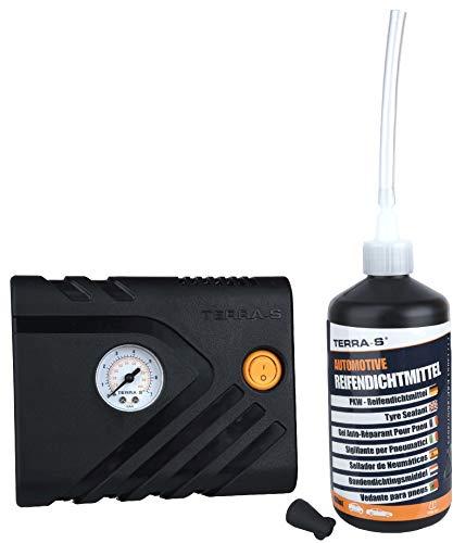 TERRA S T56000 T56000Reifenreparatur-Kit, Mobil-Kit, Notfallausrüstung, mit Dichtmittel und Reifenpumpe, geeignet für Autos und andere Kfz, Reparatur in 15Minuten