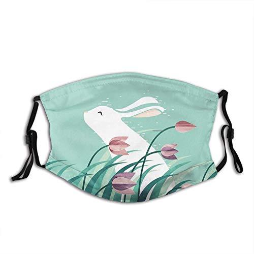 Weiße Osterhasen-Gesichtsmaske, bequeme lustige Tier-Sturmhaube für Erwachsene, verstellbar für Winddicht & Wärme.