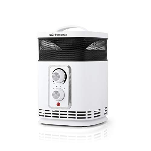 Orbegozo CR 6025 Calefactor cerámico 360 con función Ventilador, 1500W de Potencia, 2 Niveles de Funcionamiento, 1500 W, 2 Velocidades, Negro/Blanco