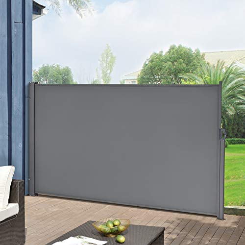 pro.tec Seitenmarkise 180 x 300 cm Mittelgrau Sichtschutz Markise Sonnen- & Windschutz