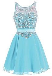 Blue Short Chiffon Dress Rhinestone Beaded Cocktail Gown
