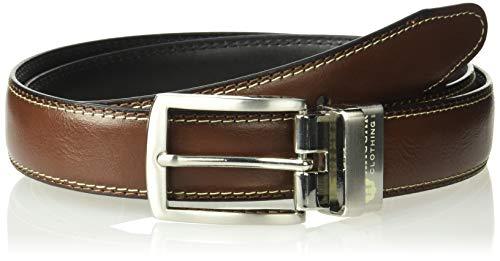 Haggar Men's Dress Casual Vegan Leather Belt, black/brown/burnished, 36