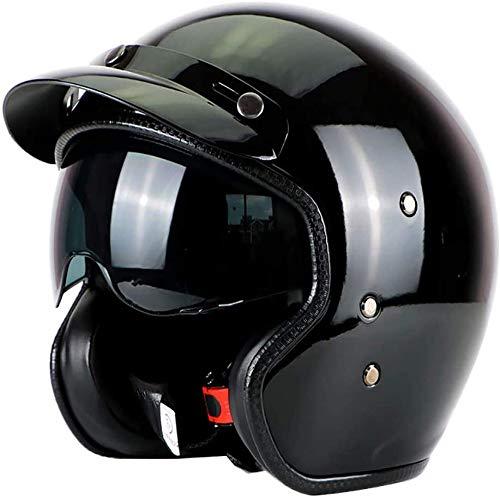 ZHXH Harley Helmet Adult Motorboat Cruiser Scooter Hombres y mujeres Casco de certificación de punto con gafas de sol 4/7 Casco Scooter