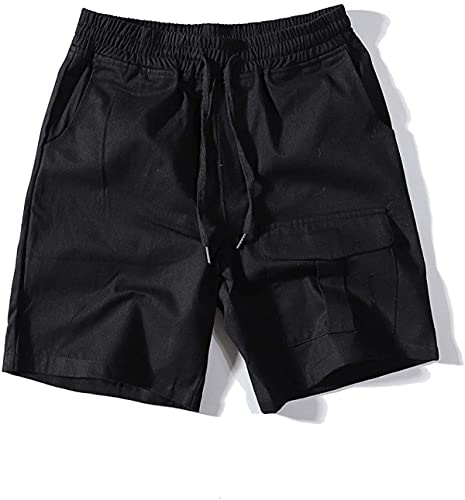 Haayee Pantalones cortos de carga para hombre, sencillez, color puro, tendencia a todo partido, costura