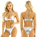 CHICTRY Women's Shiny Metallic Scoop Neck Push Up No Padded Brazilian Thong Bikini Swimsuit Silver Small