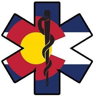 ION Graphics Colorado State Shaped EMT Flag Sticker Die Cut Vinyl EMS Paramedic CO 5