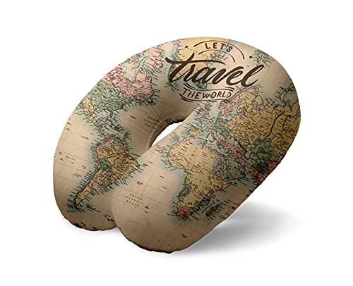I-TOTAL® - Cuscino da viaggio/Cuscino da viaggio per collo Morbido per supporto cervicale/Cuscini Cuscino da viaggio divertente (Old Map)