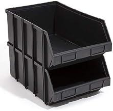 20 x Stapelboxen Stapelkisten Box 490x310x190 Gr. 4 opslagbakken zwart groot stapelbaar insteekbaar