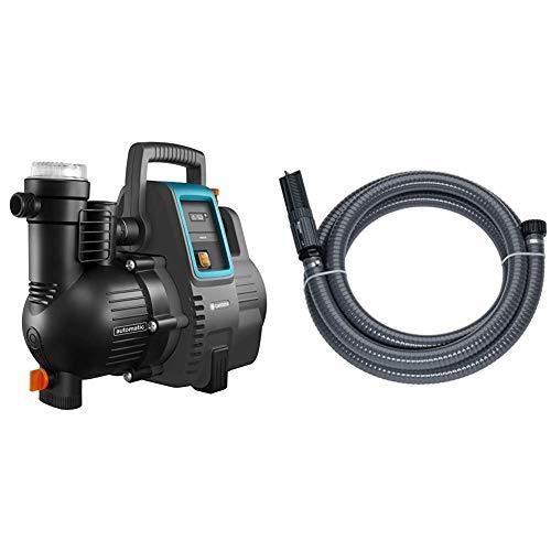 Gardena Hauswasserautomat 4000/5E: Energiesparende Hauswasser- und Bewässerungspumpe, Fördermenge 4000 l/h & Sauggarnitur 7 m: Robuster Saugschlauch zum Anschluss an die Gartenpumpe, Durchmesser 25 mm