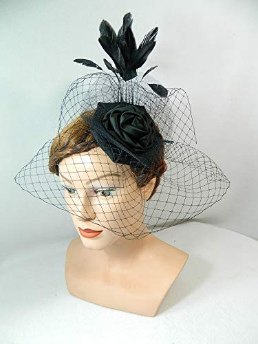 Fascinator schwarz Hutnetz Trauerflor Damenhut Haarschmuck Kopfschmuck Gothic Steampunk Burlesque
