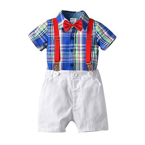 Julhold Peuter Baby Jongen Kids Vrije tijd Mode Gentleman Plaid T-Shirt Tops Katoen Shorts Boog Outfits Set 2019Nieuwe 1-5 Jaar
