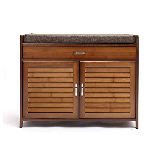 GENFALIN 2 Puerta de bambú Acolchonadas Banco Zapatero Gabinete Organizador con cajón con Patas de Calzado Bastidores (Color, tamaño: 69x35x54cm)