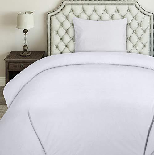 Utopia Bedding Bettwäsche-Set - Mikrofaser Bettbezug und Kopfkissenbezüge - Bettbezüge Set mit Reißverschluss (135x200cm + 1 x Kissenbezug 80x80cm, Weiß)