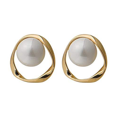 Yhhzw Pendientes De Botón De Perlas Simuladas Huecos Geométricos Irregulares Para Mujer Regalo De Joyería De Metal De Moda