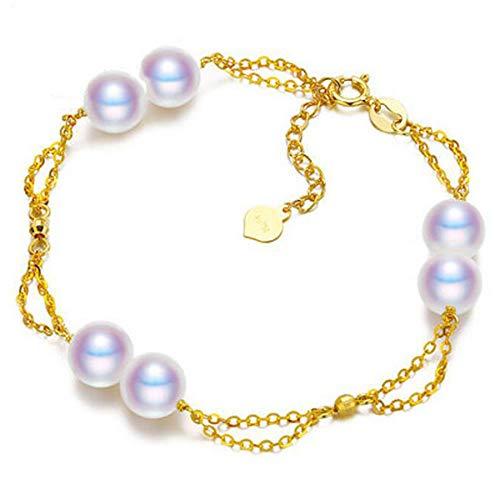 Fashion Jewelry@ G18K Perla Pulsera con Oro Amarillo de 18 Quilates (750/1000) Japon Akoya 6-6.5mm Perlas Cultivadas de Agua de Mar Brazalete Mujer Ajustable Cadena