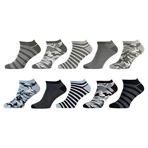 Lieblingsstrumpf24 10er Pack Bunt Gemusterte Herren Sneaker Socken 40-46 hoher Baumwollanteil keine drückende Naht (CAMOUFLAGE SNEAKER)