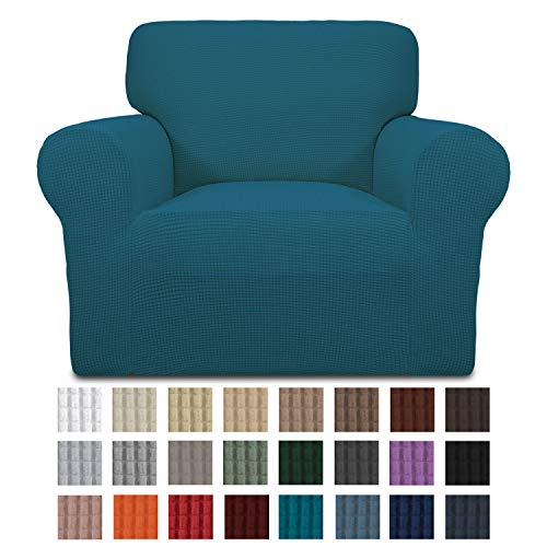 Easy-Going Stretch Chair Sofa Slipcover 1-Piece Couch Sofa Cover Furniture Protector Soft with Elastic Bottom for Kids. Spandex Jacquard Fabric Small Checks(Chair,Peacock Blue)