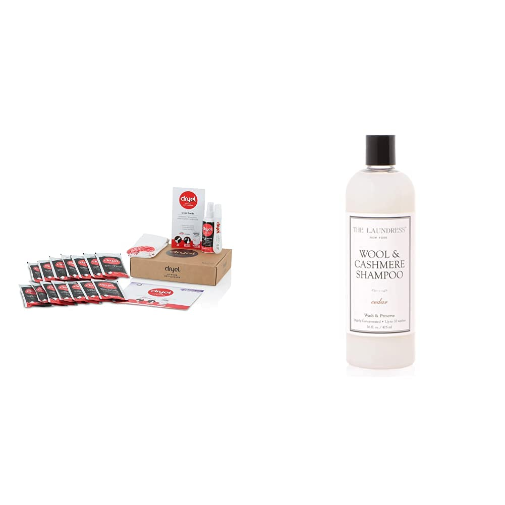 dryel - CRB-12000v2 Dryel At-Home Mega Dry Cleaner Starter Kit & The Laundress New York - Wool & Cashmere Shampoo, Allergen-Free, Adds Scent & Removes Odor, Cedar Scented, 32 washes, 16 FL Ounce
