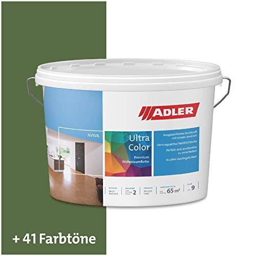 ADLER Ultra-Color Wandfarbe - Volltonfarbe und Abtönfarbe in 100+ Farbtönen - Zucchini C12 165/4 Grün 1 l Atmungsaktiv, Hochdeckend, Lösungsmittelfrei