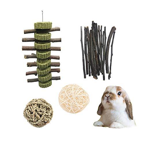 LLGL Kaninchen Kauenspielzeug Set Gras Kuchen Ball Bio-Apfelstäbchen Kauspielzeug Zahnpflege für Chinchilla Meerschweinchen Hamster (Graskuchen)