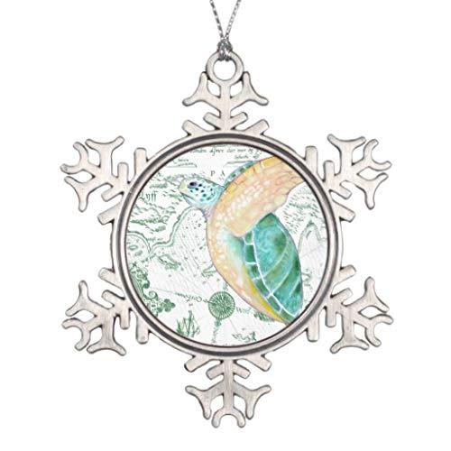 LilithCroft99 - Figura Decorativa para árbol de Navidad 2018, diseño de Tortuga de mar, Mapa Vintage, Color Blanco