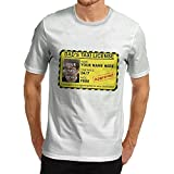 YUANFENG Men's Cotton Funny Dad'S Taxi License Personalised Print T-Shirt White s