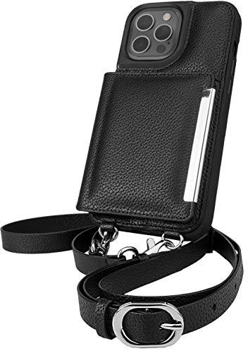 Smartish iPhone 12 Pro Max Crossbody Case - Dancing Queen [Purse/Clutch with Detachable Strap & Card Holder] - Stiletto Black-Silver