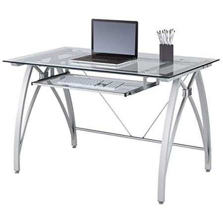 """Realspace Vista 48""""W Glass Computer Desk, Silver"""