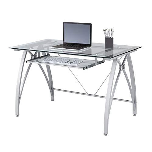 Realspace Vista 48'W Glass Computer Desk, Silver